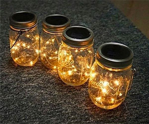 Solar Mason Jar Lights with Warm White Firefly Lights and Hanging Handle