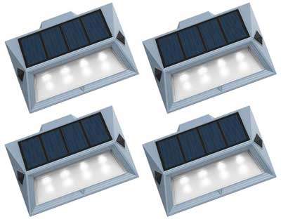 4-Pack Solar Stair Lights, Extra Bright LED Bulbs