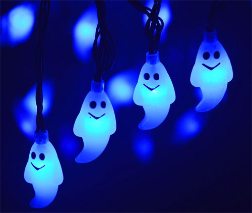 Outdoor Blue Solar Ghost Lights for Halloween
