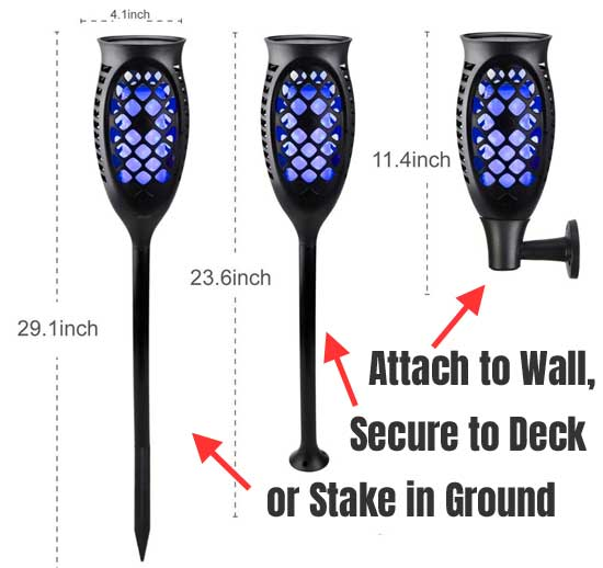 3 Wasy to Install Flickering Blue Solar Lights: on Wall, on Deck or Stake in Ground