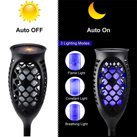 3 Modes of Blue Solar Path Lights: Flames, Solid, Breathing Light
