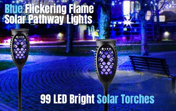 Blue Solar Torch Lights with 99 LED Flickering Flame Effect