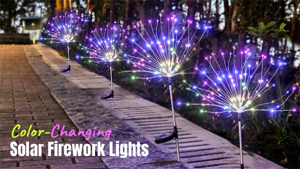 Color-Changing Solar Firework Lights for Paths, Driveways and Table Centerprieces
