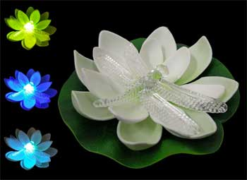 Solar Powered Floating Lotus Lights, Color Changing with Firefly in Center
