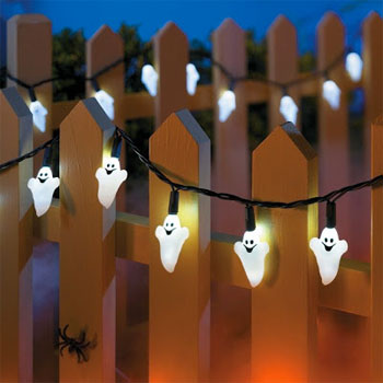 Solar Ghost String Lights Hanging on Fence for Haloween