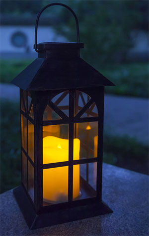 Hanging Solar Lantern with LED Candle and Metal Frame, Nautical/Mission Style
