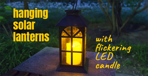 Hanging Solar Lanterns with Flickering LED Candles