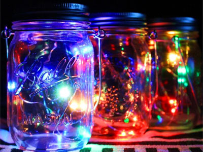 Colored Mason Jar Solar Lights