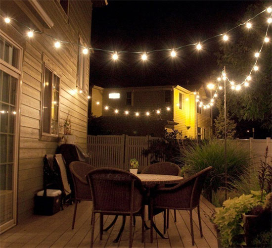 Solar Bistro Lights Strung Across Backyard Patio