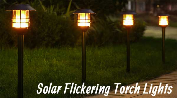 "Solar Flickering Torch Lights Have 3 Adjustable Heights Up to 55"" Tall"