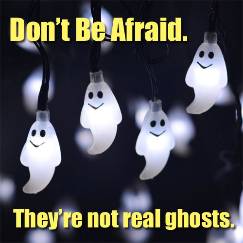 Bright White Solar Ghost Lights on String for Halloween Decorating