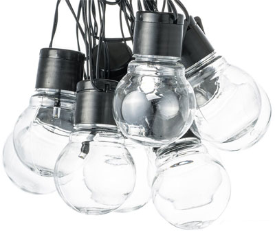 String of Solar Globe Lights with Clear Glass, Like Vintage Edison Bulbs