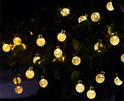 Solar Globe Lights with Dark Green Wire that Becomes Invisible in Plants, Trees and Foliage