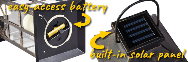 Solar Lantern Panel and Battery Locations