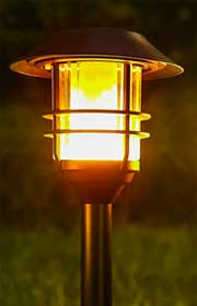Tall Solar Lantern with Flickering Flame-Like LED Bulbs
