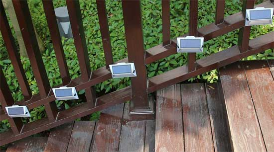 Solar Powered Step Lights on Outdoor Deck Stairs
