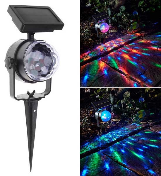Multi-Color Solar Projector Lights that Automatically Spin