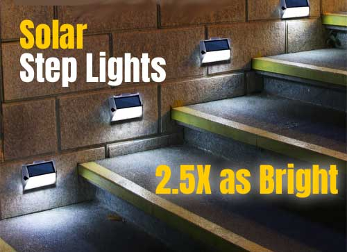 Extra Bright Solar Step Lights for Stairs, Pathways, Decks