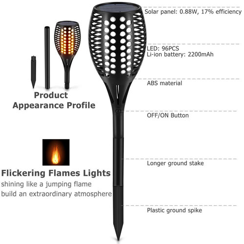 Solar Tiki Torch Features