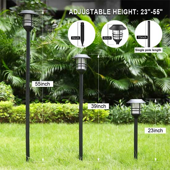 "Tall Solar Torches Have 3 Adjustable Heights - Up to 55"""" Tall"
